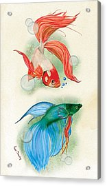 Three Fish Acrylic Print by Anne Beverley-Stamps