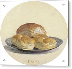 Three French  Rolls On An Iron Plate Acrylic Print by Ben Rikken