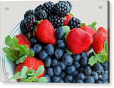 Three Fruit 2 - Strawberries - Blueberries - Blackberries Acrylic Print by Barbara Griffin