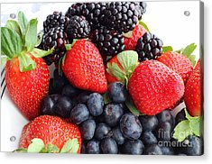 Three Fruit Closeup - Strawberries - Blueberries - Blackberries Acrylic Print by Barbara Griffin