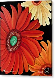 Acrylic Print featuring the painting Three Gerbera by Barbara McMahon