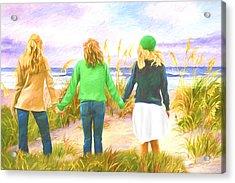 Three Girls At The Beach Acrylic Print