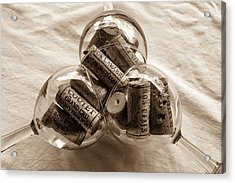 Three Glasses Of Corks Toned Acrylic Print