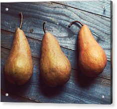 Three Gold Pears Acrylic Print by Lupen  Grainne