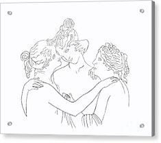 Acrylic Print featuring the drawing Three Graces by Elizabeth Lock