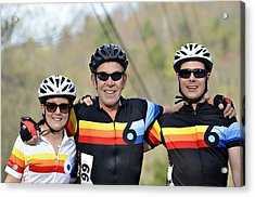 Three Gran Fondo Riders Acrylic Print by Susan Leggett