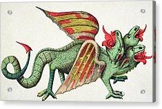 Three Headed Dragon Spitting Fire Acrylic Print by German School