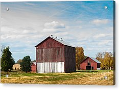 Acrylic Print featuring the photograph Three In One Barns by Debbie Green