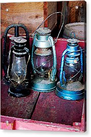 Three Kerosene Lamps Acrylic Print by Susan Savad