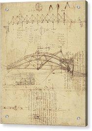 Three Kinds Of Movable Bridge Acrylic Print by Leonardo Da Vinci