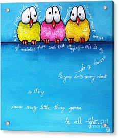 Three Little Birds Acrylic Print by Lucia Stewart