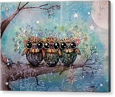 Three Little Night Owls Acrylic Print by Karin Taylor