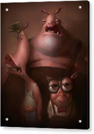 Three Little Pigs Acrylic Print by Adam Ford