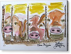 Acrylic Print featuring the painting Three Little Pigs by Patricia Januszkiewicz
