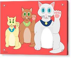 Three Lucky Cats Acrylic Print