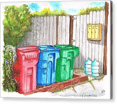 Three Mail Boxes And Three Trash Cans, West Hollywood, California Acrylic Print by Carlos G Groppa