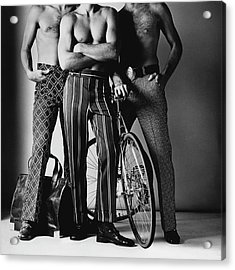 Three Male Models Wearing Patterned Trousers Acrylic Print