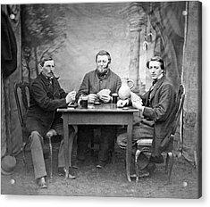 Three Men Playing Cards Acrylic Print