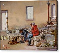 Three Men With A Dog Acrylic Print by Dominique Amendola