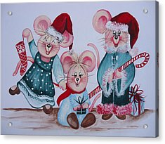 Acrylic Print featuring the painting Three Merry Mice by Leslie Manley