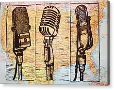 Three Microphones On Map Acrylic Print by William Cauthern