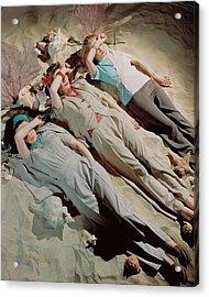 Three Models Lying Down On Sand Acrylic Print by John Rawlings