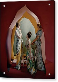 Three Models Wearing Patterned Dresses Acrylic Print