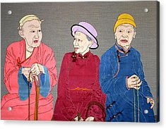 Three Mongolians Acrylic Print by Leslie Rinchen-Wongmo