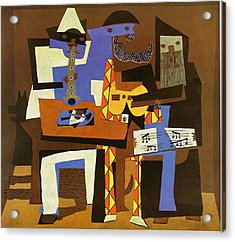 Three Musicians Acrylic Print by Picasso Pablo Pablo Picasso