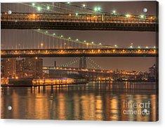 Three New York Bridges Acrylic Print by Clarence Holmes