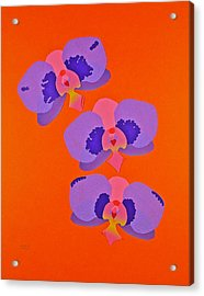Acrylic Print featuring the mixed media Three Orchids by Michele Myers