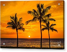 Three Palms Golden Sunset In Hawaii Acrylic Print