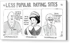 Three Panel Cartoon Of Online Dating Profiles Acrylic Print