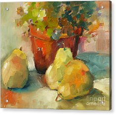 Three Pears And A Pot Acrylic Print