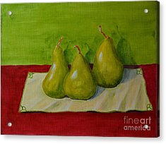 Three Pears Acrylic Print by Melvin Turner