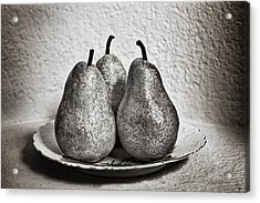 Three Pears On A Plate Acrylic Print