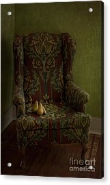 Three Pears Sitting In A Wing Chair Acrylic Print by Priska Wettstein