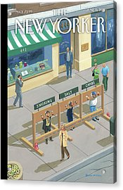 Three People In Stocks Which Read: Smoking Acrylic Print by Bruce McCall