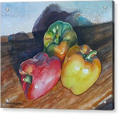 Three Peppers Acrylic Print by Anne Gifford