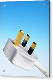 Three-pin Electrical Plug Acrylic Print by Science Photo Library