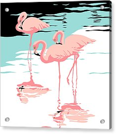 Three Pink Flamingos Tropical Landscape Abstract - Square Format Acrylic Print