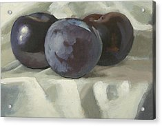Three Plums Acrylic Print by Peter Orrock