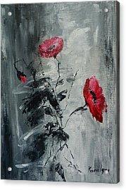 Three Poppies Acrylic Print by Maria Karalyos