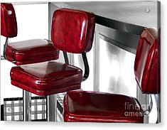 Three Red Stools Acrylic Print by Dan Holm
