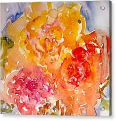 Acrylic Print featuring the painting Three Roses by Linde Townsend