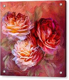 Acrylic Print featuring the mixed media Three Roses - Red by Carol Cavalaris