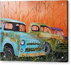 Three Rusty Trucks Acrylic Print