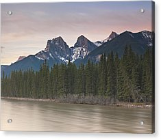 Three Sisters And Bow River Canmore Acrylic Print by Richard Berry