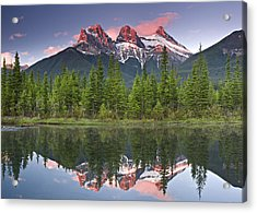 Three Sisters Reflection Acrylic Print by Richard Berry