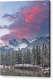 Three Sisters Winter Sunrise Acrylic Print by Richard Berry